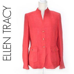 ELLEN TRACY Summer Coral Tweed Linen Blend Blazer